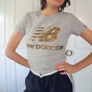New Balance gold metallic logo tee